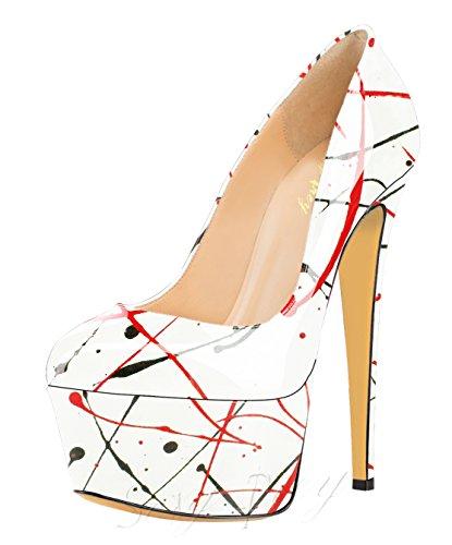 Élégantes Escarpins Femmes Talon Chaussures Dressy Fermé Orteils Plate Pointe Multi couleurs Haute De Sexyprey Brevet forme Blanc Griffonnent cHOZIOWy7
