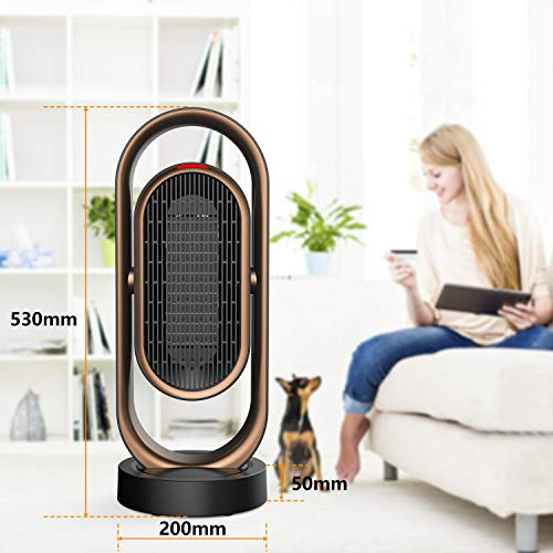 Space Heater, OUSMIN 1500W Double Oscillating Electric Ceramic Heater Adjustable, 2S Quick Heat Up, 8H Timer, Remote Control, Overheat & Tip-Over Protection, Portable Heater Fan for Office Home Indoor