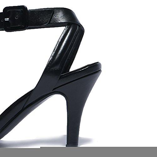 AalarDom Mujeres Tacón de aguja Sólido Hebilla Puntera Abierta Sandalia Negro