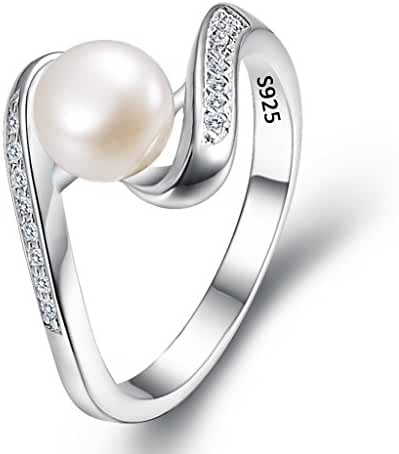 EleQueen 925 Sterling Silver CZ 7mm AAA Cream Freshwater Cultured Pearl Ribbon Bridal Cocktail Ring