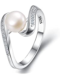925 Sterling Silver CZ 7mm AAA Cream Freshwater Cultured Pearl Ribbon Bridal Cocktail Ring