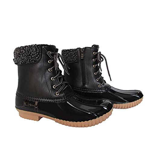 Womens Water-16 Fuax Fur Shearling Lace Up Side Zipper WaterProof Insulated Boots Black