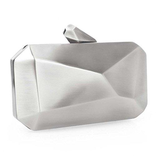 BMC Womens Brilliant Silver Colored Alloy Metal Abstract Stone Cut Hardcase Fashion Clutch Shoulder Chain Handbag
