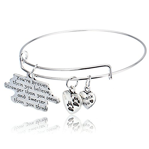 [You're Braver Than You Believe Life Adjustable Wire Bangle Inspirational Bracelet] (Best Mother And Son Costumes)
