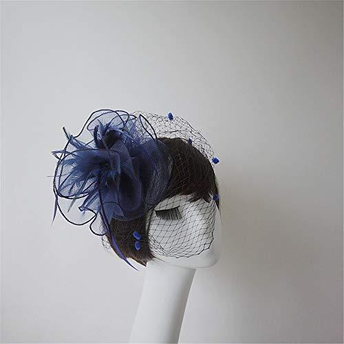Plumes Partie Chapeau Coiffure Club Cheveux pink Jockey Cocktail Blue Fleur Fille Chapeaux Net Et Femme Ornements Ads xgIH5qTH