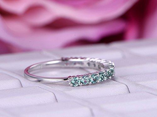 Green Alexandrite Wedding Band Half Eternity Anniversary Ring 14K White Gold ()