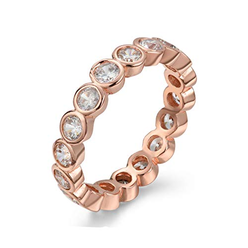 NYC Sterling Women's .925 Cubic Zirconia 3mm Bezel Design Stackable Eternity Ring Band (Rose-Gold-Plated-Silver, 7)