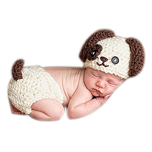Fashion Newborn Boy Girl Baby Costume Knitted Photography Props Puppy Dog Hat Pants