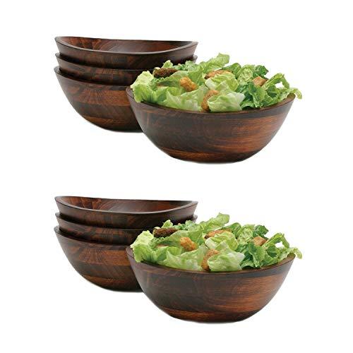 Lipper International Cherry Finish Wavy Rim Wooden Serving Bowls, 4 Piece Set (2 Pack)