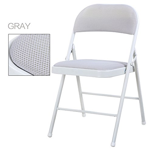 Breathable dining chair / backrest computer chair / casual simple folding chair / dormitory chair / conference chair / portable folding chair / home dinette / five colors optional / ( Color : Gray ) by Folding Chair