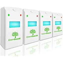 GreenGuardX Ultrasonic Pest Control Repeller (4-Pack)–Indoor Repellant for Mice, Mosquitos, Roaches, Spiders, Insects, & Rodents – Ecofriendly Bug Repeller–Children & Pet Safe, Non-Toxic