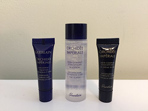 GUERLAIN 'Orchidée Impériale Travel Set Minis: Exceptional Complete Care Toner, 0.5 oz, The Eye and Lip Cream .06 oz, and The Rich Cream, 0.10 oz ()