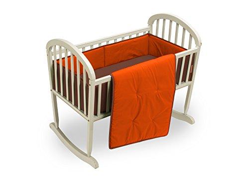 Baby Doll Bedding Solid Reversible Cradle Bedding Set, Brown/Orange