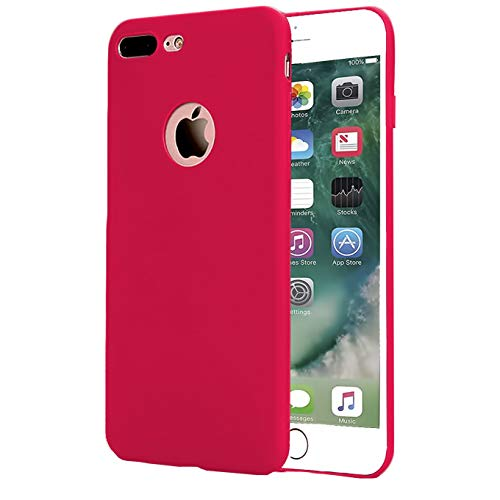 Slim Fit Case Compatible with iPhone 8 Plus Case, iPhone 7 Plus Case,Soft TPU Ultra Thin Slim Fit Anti-Fingerprint Rubber Cover, for iPhone 7 Plus (2016)/iPhone 8 Plus (2017) 5.5 inch Phone - Red