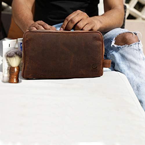 Genuine Leather Travel Toiletry Bag - Dopp Kit Organizer By Rustic Town (Dark Brown)