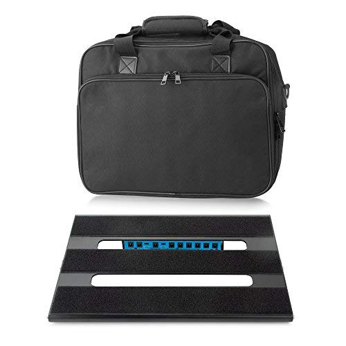 Caline Guitar Pedal Board 13.78 x 11 x 1.77 with Carry Bag Aluminum Alloy PedalBoard Case CB-106, Black CP-106