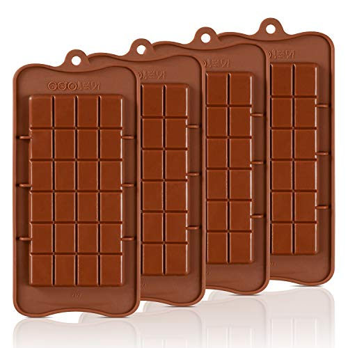 (Chocolate Molds Silicone - Candy Molds Break-Apart Silicone Chocolate Molds Protein and Engery Bar Silicone Molds Pack of 4)