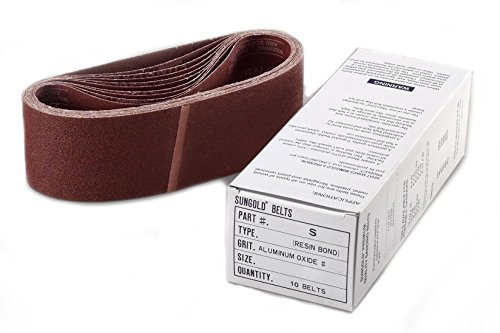 Sungold Abrasives 64563 3-Inch by 21-Inch  40 Grit Portable Belts Premium Industrial X-Weight Aluminum Oxide, 10 Belts/Box