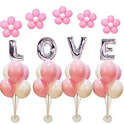 4 Sets of Clear Balloon Stand Kit with 7 Sticks 7 Cups and 1 Base Table Desktop Holder Balloon Decoration for Birthday Party Wedding Party Event with 1 Pump