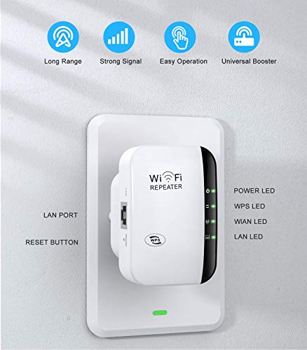 WiFi Range Extender,WiFi Repeater, Super WiFi Booster 300Mbps Wireless Signal Strong Penetrability, WiFi Extender Signal Booster for Home,WPS Quick Connection, LAN/Ethernet