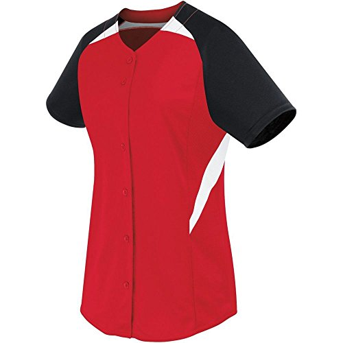 High Five Girls Galaxy Full Button Jersey,Scarlet/Black/White,Medium (Sleeveless Jersey Button Front Performance)