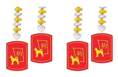 Beistle 54864-DOG 4 Piece 2018 Year of The Dog Danglers, 30