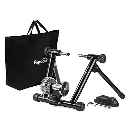 Alpcour Bike Trainer Stand - Portable Stainless Steel Indoor Trainer w/Fluid Flywheel, Noise Reduction, Progressive Resistance, Dual-Lock System & Bag - Stationary Exercise for Road & Mountain Bikes