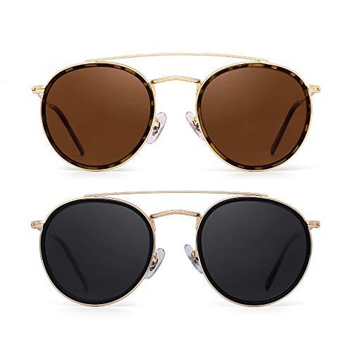 Womens Bridge - JIM HALO Small Polarized Round Sunglasses for Women Vintage Double Bridge Frame 2 Pack (Brown & Grey)