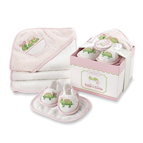 Infant Turtle Towels - Baby Aspen, Tillie the Turtle Four-Piece Bathtime Gift Set, Pink, 0-6 Months