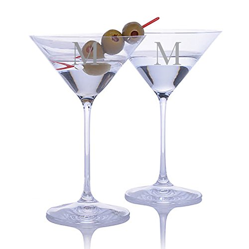 (Personalized Riedel Vinum XL Martini Glass 2pc. Set Engraved & Monogrammed - Great Gift for Father's Day, Weddings and Groomsmen)