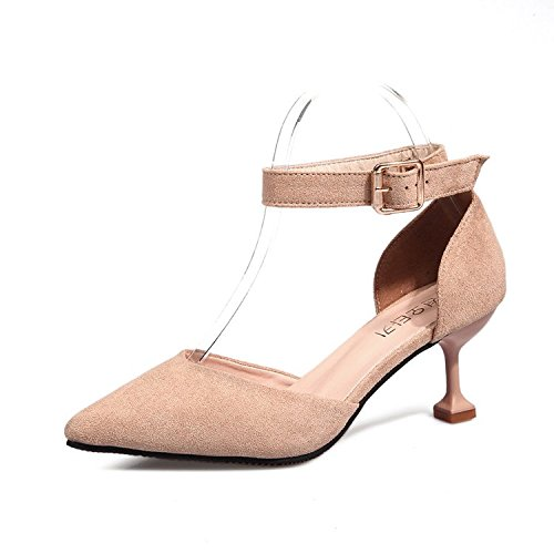 solo fresh mujer Lady luz pequeñas 4 de Qiqi raso de Xue Pink la con zapatos Caqui Punta zapatos Shoes a Heel zapatos plana del alto zpxqCqwtPg