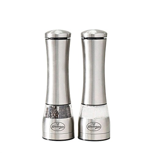 Homekitchenco Electric Salt and Pepper Grinders - Battery Operated, Stainless Steel with Ceramic Mill and Led Light (Pack of 1) - Easy adjust grinder coarseness, powerful motor for rock salt by Homekitchenco