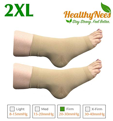 HealthyNees Extra Wide Ankle Big Feet 20-30 mmHg Compression Swelling Foot Pain Circulation Plus Size Sock Open Toe Sleeve (Beige, Mid Ankle 2XL)