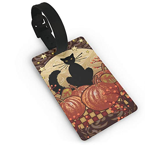 Moonlight Cat - Decorative Black Pumpkin Halloween Fall Spooky USA Luggage Tags, Travel Luggage Labels for Luggage Suitcases Bags,Business Card Holder Travel ID Bag Tag ()