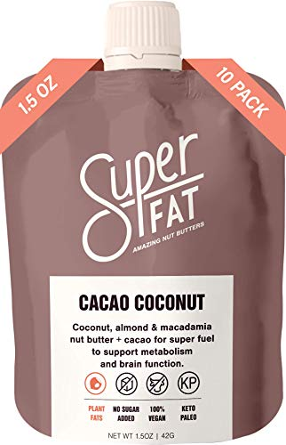 Nut Butter Fat Bomb: Macadamia & Almond Nut Butter for Increased Energy, Metabolism and Brain Function. Paleo & Keto, Vegan, Gluten Free, Low Carb On-The-Go Snack. (Box of 10) (Cacao)