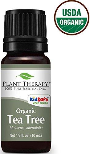 Plant Therapy USDA Certified Organic Tea Tree (Melaleuca) Essential Oil. 100% Pure, Undiluted, Therapeutic Grade. 10 ml (1/3 oz).