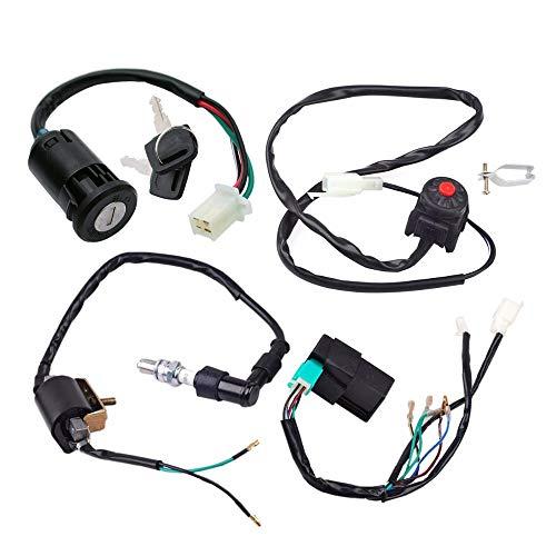 - CDI Box Wire Harness Wiring Loom Kill Switch Ignition Coil Spark Plug Rebuild Kit for for 50cc 70cc 90cc 110cc 125cc Kick Start Dirt Pit Bike ATV Buggy Go Kart Wire Harness Rebuild Repair Kit