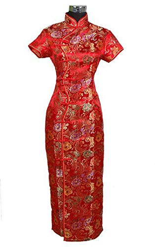 (Winter Artifact Spring Moon Dresses Traditional Chinese Dress Women's Satin Long Cheongsam Qipao Clothings Flower,Reverse,Red)