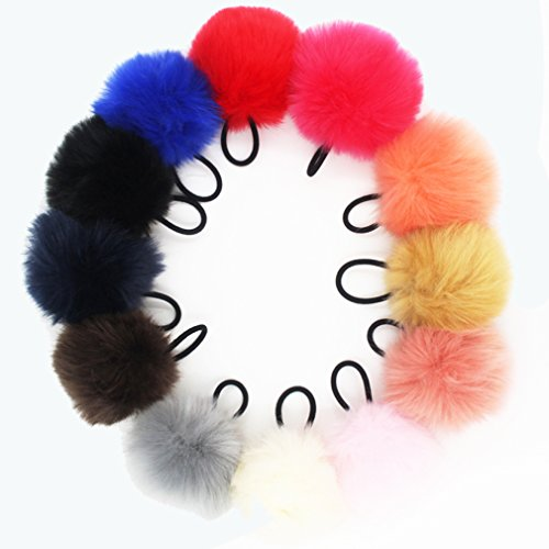 Susulu 12pack Soft Ball Faux Rabbit fur 7-8cm Pom Pom Hair Scrunchies Elastic Ponytail Holder For Women (Mix Colors)