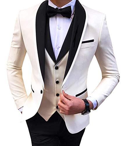 Aesido Men's Suit Formal 3 Pieces Slim Fit Shawl Lapel Solid Prom Tuxedos Wedding Groomsmen (Blazer+Vest+Pants) 2019(White,44US)