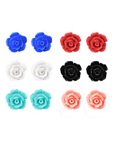 Mudder 6 Pairs Handcrafted Resin Rose Earring Studs (Red Earrings Rose)