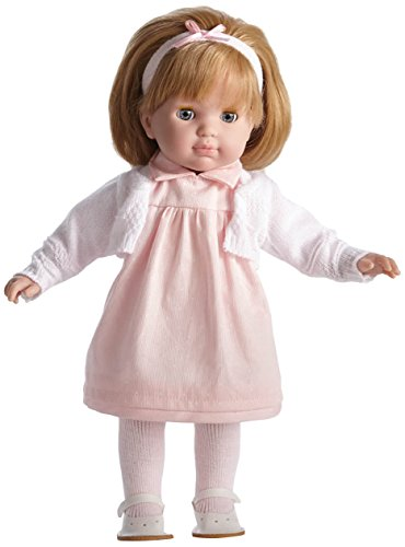 JC Toys Blonde Toddler Doll, 14-Inch Soft Body Doll Dressed in Pretty Pink and White Dress. Open and close eyes.  Designed by BERENGUER for Children 3+.