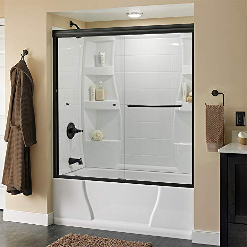 Delta Shower Doors SD3927418 Classic Semi-Frameless Traditional Sliding Bathtub 60 x58-1 8, Bronze Track