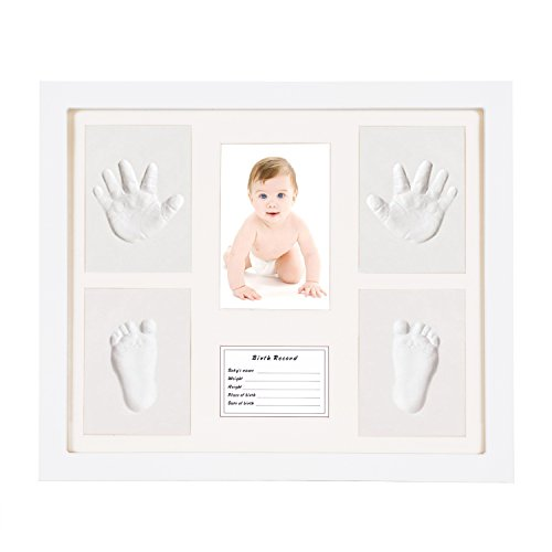 Baby Handprint Kit Footprint Makers Keepsake Frames Baby Shower Gifts Memorable Decorations for Newborn DIY Creative Room Wall Table Décor Pictures Wooden Frame  White Inkpad Non Toxic Clay