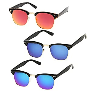 zeroUV - Premium Half Frame Colored Mirror Lens Horn Rimmed Sunglasses 50mm (3-Pack | Green-Blue/Blue/Red-Orange)