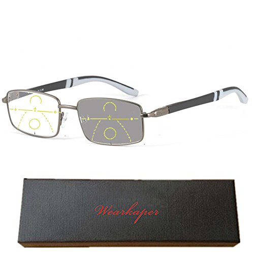 WEARKAPER Progressive Multifocal glasses Transition Sun Readers Photochromic Reading Glasses Men (1.50X, Gray)