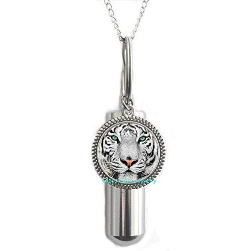 White Tiger Cremation URN Necklace, Tiger URN, Tiger Jewelry, URN Art Gift for Men for Women, Nature Cremation URN Necklace,Q0051