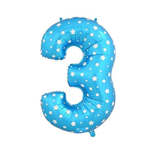 LQZ(TM) Ballon Gonflable Numéro 0-9 Feuille de 80cm Ballon Géant Anniversaire Décoration Bleu en Aluminium Bal Soirée (3)