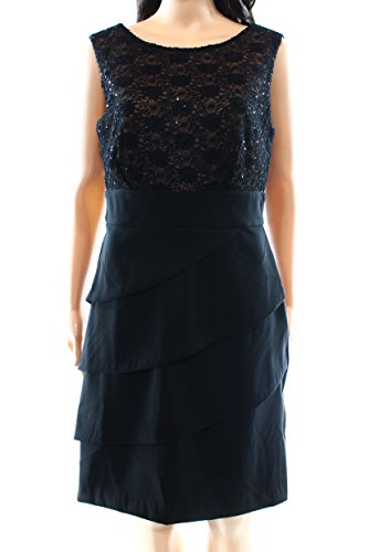 Gold Apparel Dress Black Sequined Womens Cocktail Connected Lace UBznq
