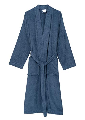 TowelSelections Women's Robe Turkish Cotton Terry Kimono Bathrobe Large/X-Large Moonlight Blue